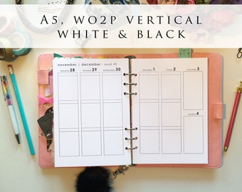 A5 planner inserts - week on 2 pages (WO2P), vertical, Mon-Sun, white and black, pre-punched (A5.7)