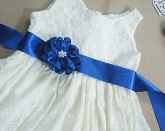 Lace flower girl dress Rustic flower girl dress Ivory flower girl dress Royal blue flower girl dress Country flower girl dress