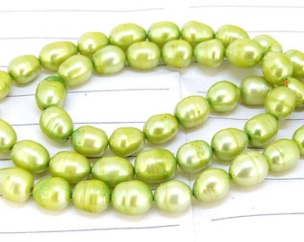One Full Strand--- Luster Rice Green Pure Freshwater Pearl----6mm-7mm----about  40 Pieces----15.5 inch strand