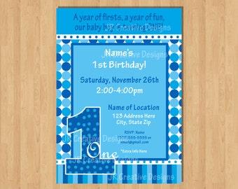 1st birthday boy invitation boy invite Everything One Boy invite1st  Boy Birthday invitation birthday party 1 boy baby Blue invite dots