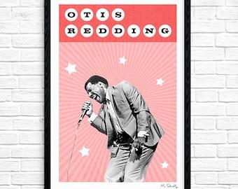Otis Redding - Superstar, Soul Singer, Music Print, Legend, Music Gift, Music Typography, Poster Design, A4, A3.