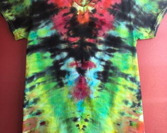 """Mindscape Tie Dye """"Ice Dyed"""" T-Shirt - Fire Breathing Dragon - Size Small"""