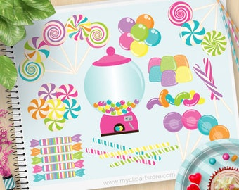 Candyland Clipart, Candies, Sweets, candy shop, gum balls, jellybeans, candy cane, lollipop, Commercial use, Vector Clip Art, SVG Files