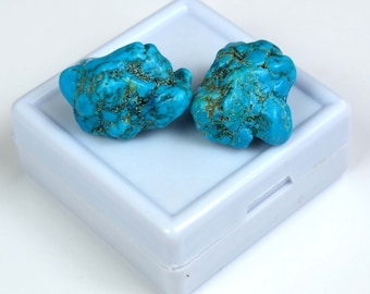 Top Grade 49.60 Ct. Natural Arizona Mine Kingman Turquoise Gemstone Rough Pair
