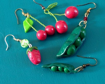 pair of earring fruits and vegetables