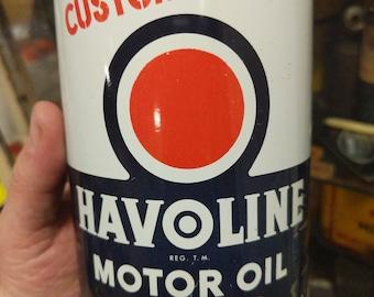 Original Texaco Havoline 1940's Metal Quart Motor Oil Can