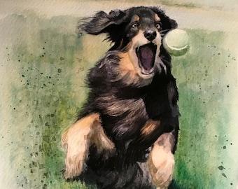Custom Watercolor Dog Portrait