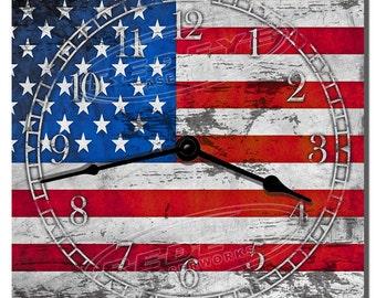 American Flag Grunge Vintage Kitchen Clock
