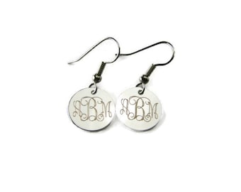 Custom Engraved Personalized Silver Plated Round Monogram Earrings - Hand Engraved