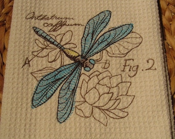 Dragonfly Diagram - Microfiber Waffle Weave Kitchen Hand Towel