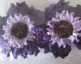 set of 2 crepe paper flowers with back a clip and a magnet