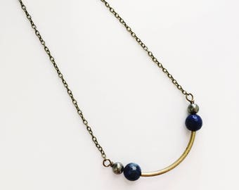 Bar Necklace, Gemstone Bar Necklace, Pyrite Necklace, Lapis Necklace, Blue and Gold, Minimal Necklace, Boho Necklace