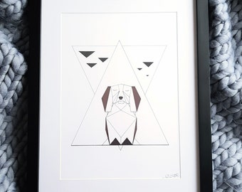 Penny A4 Geometric Dog Artwork