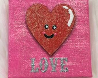 Love Kawaii wooden heart handpainted 3x3 mini canvas rts