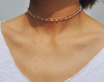 Natural opal choker necklace for women