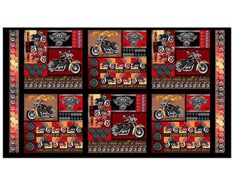 Quilting Treasures - Biker for Life - Sold by Panel - Motorcycle panel - Panel - 26016 X