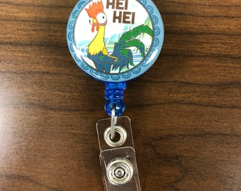 Moana's Hei Hei Inspired Retractable Badge Pull Badge Reel with Slide On Clip Blue