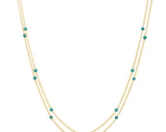 Turquoise Chain Necklace - Extra Long 46in. Necklace - 14k Gold Filled - Small Faceted Turquoise Gemstones - Gold Chain
