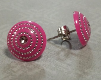 Pink and silver stainless surgical steel posts studs