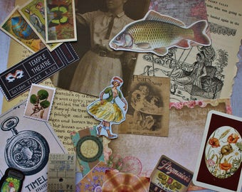 Surprise Mixed Ephemera pieces, scrap booking, collaging