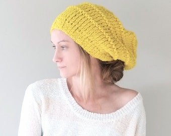 PATTERN  Slouchy Beanie Hat / Wool Knit Women Chunky Hat / Pattern PDF - Instant Download / Detailed Instructions In English