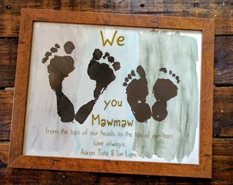 Footprint(s) on Watercolor with Quote