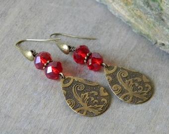 Gemstone jewelry teardrop earrings  embossed earrings classic jewelry red earrings dangle earrings songbird cabin designs bohemian