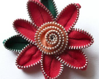 Red and Peach Floral Brooch / Zipper Pin by ZipPinning 2782