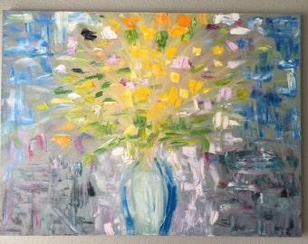 flowers in vase- original oil painting