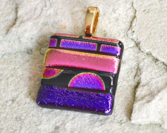 Dichroic Glass Pendant Pinks and Purples Metallic Stripes Square Shaped With Your Choice of Silver or Gold Bail Fitting