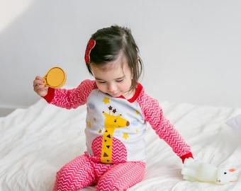 100% Cotton 2pcs 12M-7T Infant Kids Loungewear Pajama Sleepwear Set Giraffe