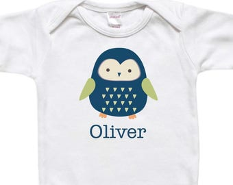 Personalized Baby Bodysuit Shirt - Baby Gift - Blue Boy Owl