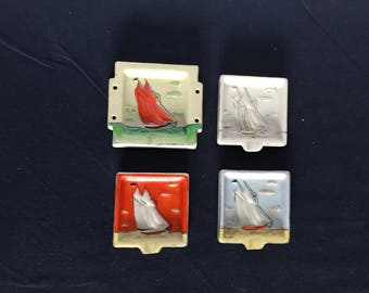 Vintage Set of Four Stackable Individual Sailboat Ashtrays