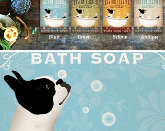 Boston Terrier dog bath soap Company artwork on gallery wrapped canvas by Stephen Fowler