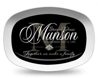 Personalized Black Monogram Melamine Platter, Wedding Date Serving Platter, Black Wedding Platter, Personalized Serving Tray, Tableware