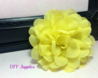Yellow chiffon scalloped flower - diy headband - fabric flowers - wholesale flowers - hair bow supplies - silk flowers - flower wholesale