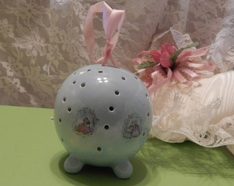 Footed Round Blue Porcelain Ceramic Pomander with Victorian Transfers