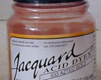 Aztec Gold 633 Jacquard Acid Dye for Wool, Silk, Feathers, Nylon, any protein (animal) fiber. Add vinegar and heat to powder.