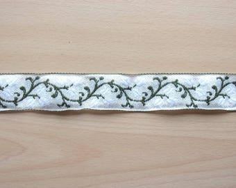 4 m Ribbon cotton white green beige floral Garland REF. 1829