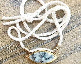 Stone and fiber necklace