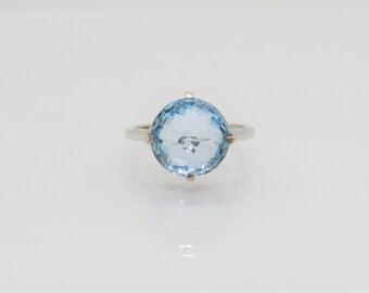 Vintage Sterling Silver Natural Aquamarine Ring Size 8