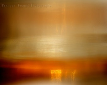 L'aube Orange, orange sunset art, yellow, abstract landscape, oversized wall art, minimalist landscape, gallery wrap canvas, interior art