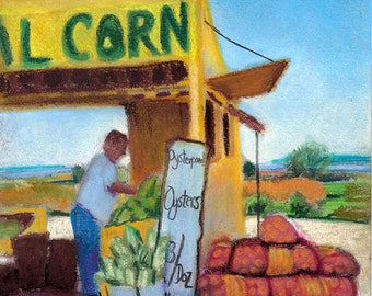 "Corn & Oysters, North Fork Farm Stand, Long Island, 6""x6"" Pastel"