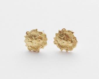 Leo Earrings, Leo Gifts, Lion Earrings, Lion Stud Earrings, Lion Jewelry, Brass Jewelry, Tiny Earrings, Gold Lion Stud Earring, Gift for her