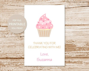 PRINTABLE personalized cupcake favor tags . pink cupcake favor stickers . happy birthday tags . thank you tags . YOU PRINT