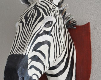 Paper mache zebra head, faux taxidermy