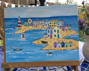 """Seaside painting. Acrylic painting on canvas.12"""" by 16"""". Painted by seller."""