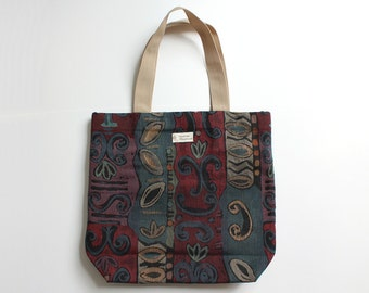 Dark red, navy blue and beige large cotton tote bag