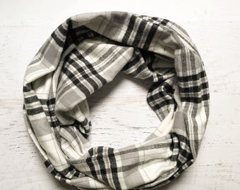 White, Black, & Grey Plaid Flannel Infinity Scarf - Handmade - Preppy, Classic, Soft, Warm - Gift for Her, Birthday, Fall Fashion, Chic