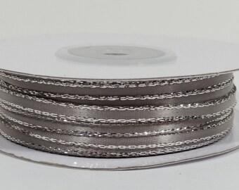 Satin Ribbon with Silver Edge - Silver